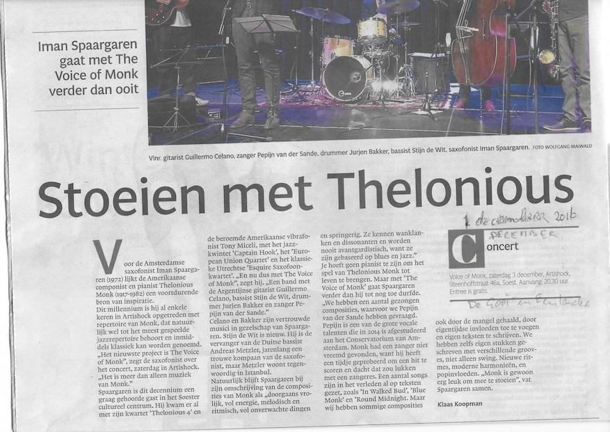 Voice of Monk in Gooi- en Eemlander 2016